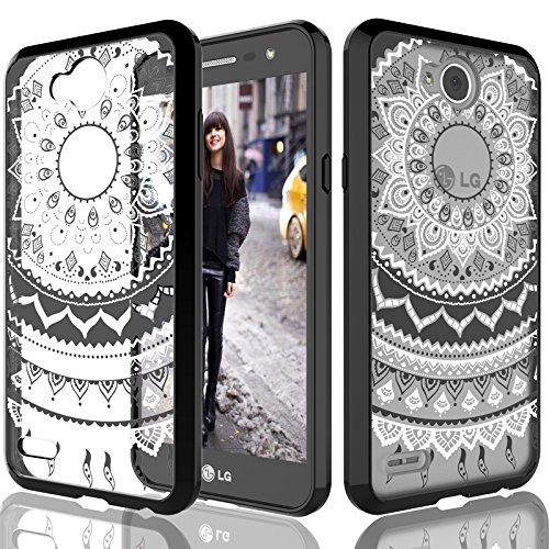 G X Charge / LG Fiesta LTE Clear Case, Tekcoo [TFlower] Retro Pattern Transparent [Black] Adorable Ultra Slim Clear Cute Hard TPU Scratch-Proof Bumper Cover For LG LV7 L64V (Fiesta Pattern)