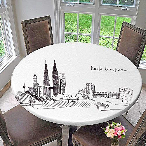 PINAFORE HOME Round Fitted Tablecloth Sketch Landmarks Malaysia The Main Build and The Twin Towers for All Occasions 40