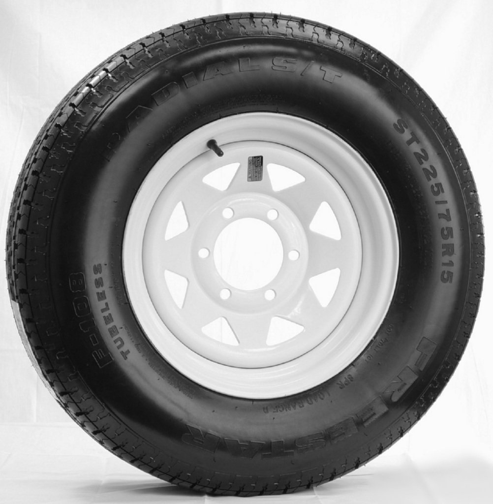 Radial Trailer Tire + Rim ST225/75R15 225/75-15 15 D 6 Lug Wheel White Spoke
