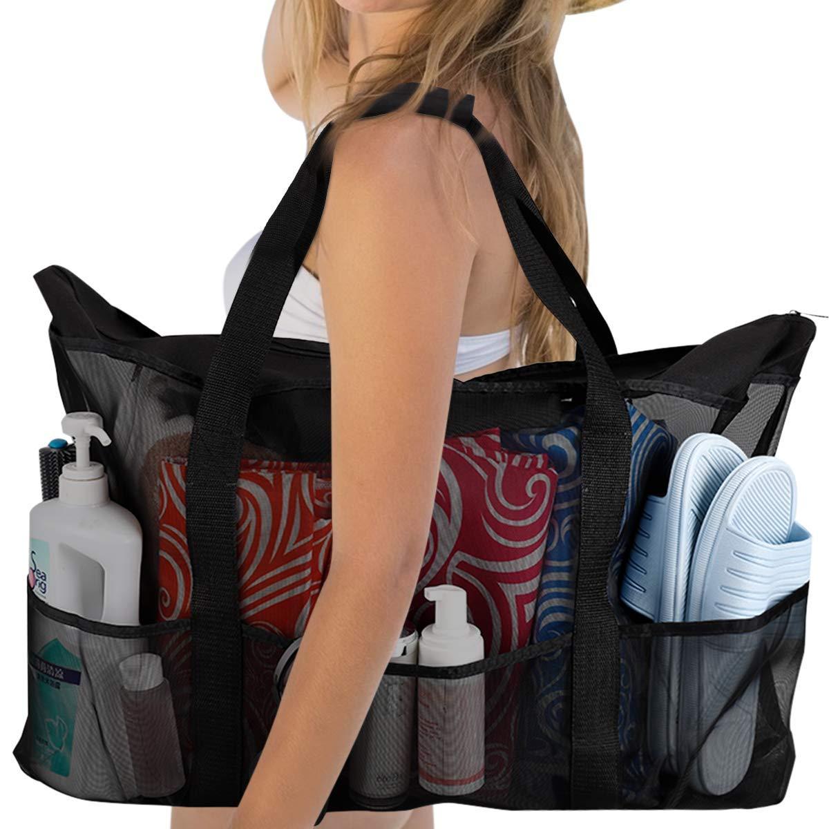 Extra Large Beach Bag XXL Mesh Tote with Zipper & 8 Pockets Heavy Duty