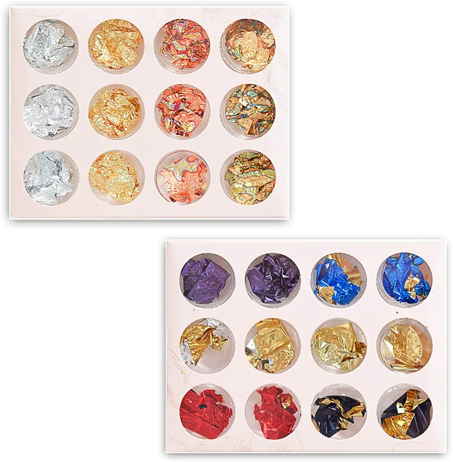 Copos de Oro Copos Lámina Metálica 2 Cajas Hojuelas de Pan de Oro Imitación Copos de Hojas Metálicos para Uñas, Pintar, Arte, Manualidad, Decoración Hacer Joya Resina(9 botellas)