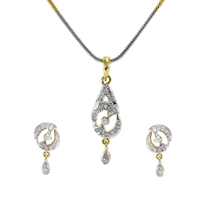 9c7ce667b Buy Indian Fashion Designer American Diamond Pendant Set For Women & Girls  Online at Low Prices in India | Amazon Jewellery Store - Amazon.in
