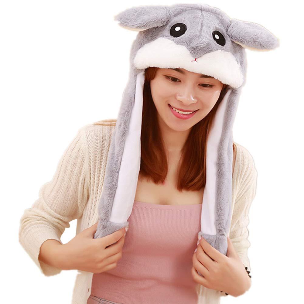 bjduck99 Kids Adult Lovely Cartoon Animal Sway Ears Plush Soft Warm Cap Hat Toy Gift