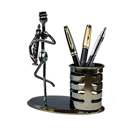 Designs Of Pen Stand : Dainty metal art unique design pen stand holder with flute artist