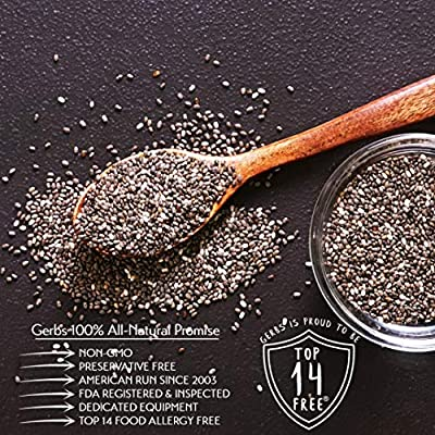 Raw Black Chia Seeds, 4 LBS by Gerbs – Top 14 Food Allergy Free & NON GMO - Vegan Keto Safe Kosher - Premium Quality Grown in Canada