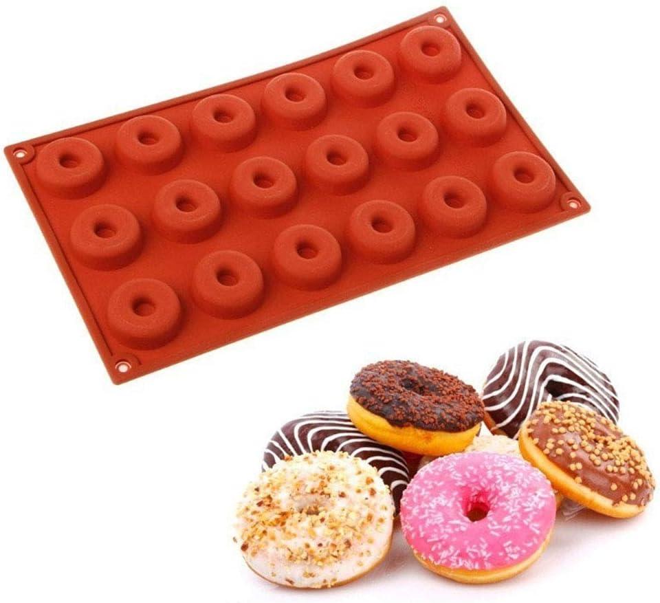 MZY1188 Molde de Silicona con Forma de Mini rosquillas de 18 cavidades, Mini Molde para Hornear de Chocolate, moldes para Hornear Bricolaje, Molde de rosquilla de Silicona con Forma Redonda