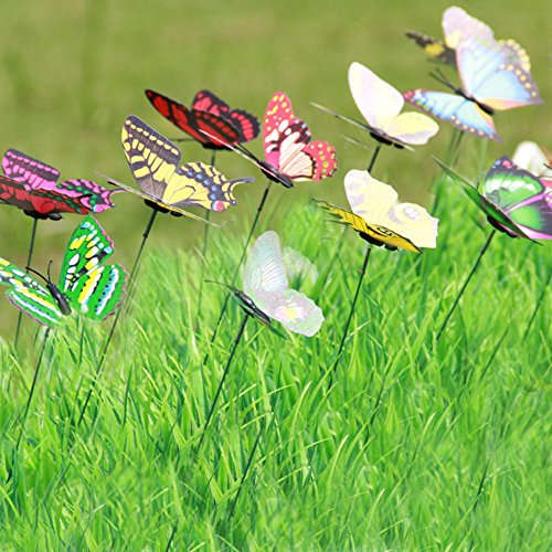 Lebeila butterfly stakes garden yard ornaments patio for Outdoor butterfly decor