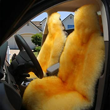 A-ffort Australian Genuine Sheepskin Seat Covers For Cars Truck Suv Van Front Seats Universal Fit Ivory, One Piece