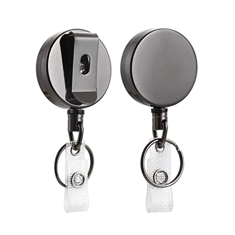 2 Pack Heavy Duty Retractable Badge Holder Reel, Will Well Metal ID Badge Holder with Belt Clip Key Ring for Name Card Keychain [All Metal Casing, ...
