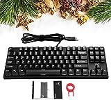 TOMOKO 87 Key Mechanical Keyboard, Water-Resistant Mechanical Gaming Keyboard with Blue Switch, Anti-ghosting Keys (Black)