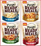 Prego Ready Meals Bundle of 4: (1) Prego Creamy Three Cheese Alfredo Rotini Ready Meal, 9 Ounce; (1) Prego Creamy Tomato Penne Ready Meal, 9 Ounce; (1) Prego Roasted Tomato and Vegetable Penne Ready Meal, 9 Ounce; (1) Prego Marinara and Italian Sausage Rotini Ready Meal, 9 Ounce