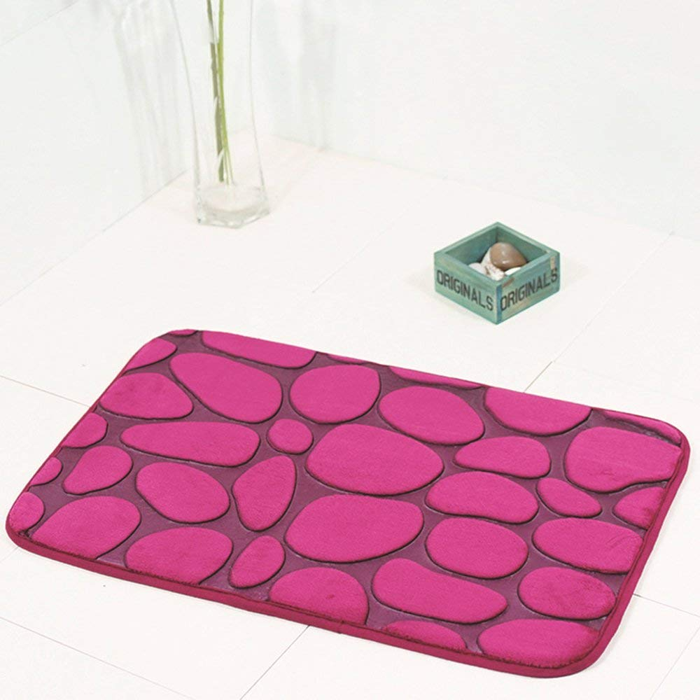 Yao 3Pcs Bathroom Carpet Pebble Non-Slip Mat Lid Toilet Cover Bath Mat Set