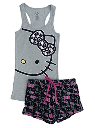 0be541df2 Hello Kitty Womens Pajamas Gray & Black Sleep Set Shorts & Tank Top Large  at Amazon Women's Clothing store: