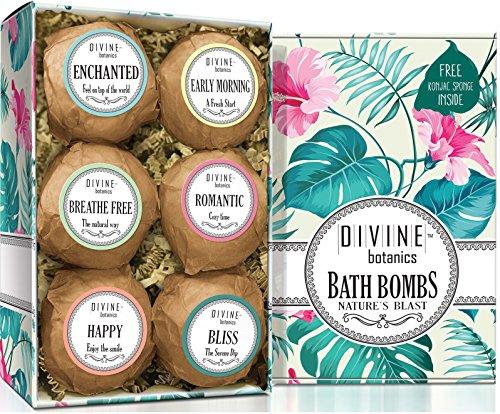 Six Extra Large and Lush Bath Bomb by Divine Botanics - Bath Bombs Kit Includes Bonus Sponge - Use with Bath Body