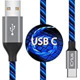 USB Type C Cable, iCrius 3A 6ft LED Light Up Visible Flowing Fast Charger Charging Cords USB C Cable Compatible with Samsung Galaxy S10 S10E S9 S8 Plus Note 10 9 8,Moto Z,LG G8 and More (Blue)