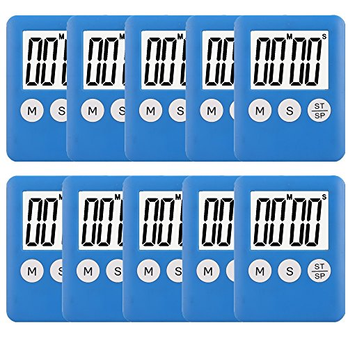 Minute Countdown Timer (10 Pack Small Digital Kitchen Timer Magnetic Countdown Up Minute Second Timer)