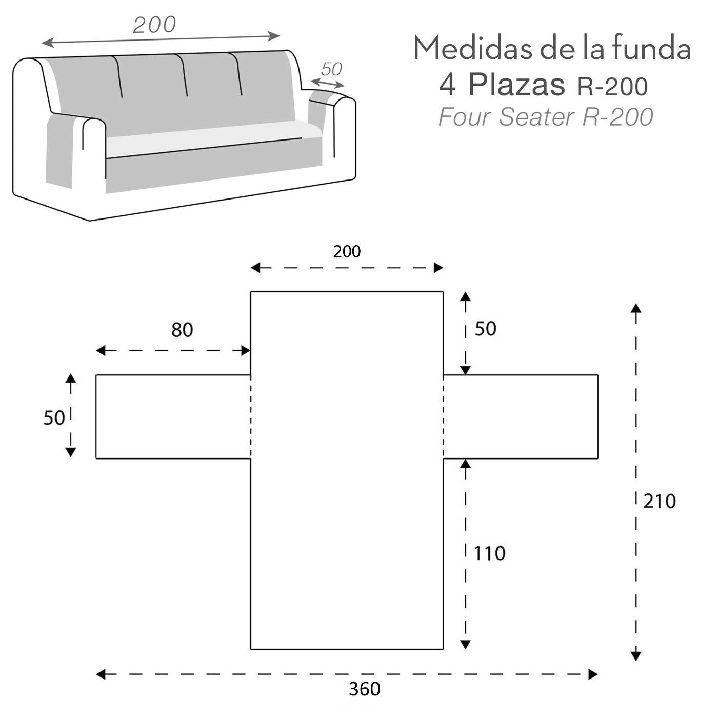 Jarrous Funda Cubre Sofá Acolchada Modelo Reversible Pelícano, Color Rojo-Beige, Medida 4 Plazas – 200cm Respaldo