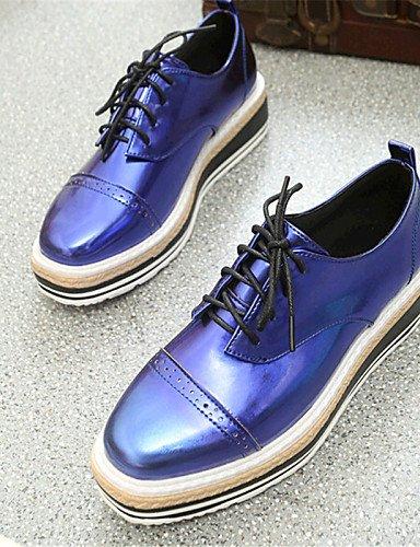 ZQ hug Zapatos de mujer-Plataforma-Creepers-Sneakers a la Moda-Exterior / Casual-Semicuero-Negro / Azul / Plata , blue-us6 / eu36 / uk4 / cn36 , blue-us6 / eu36 / uk4 / cn36 black-us6 / eu36 / uk4 / cn36
