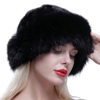 URSFUR Gorro de piel de lujo para mujer verdadera piel de zorro, boina de invierno, Sombrero de copa redondo, Negro: Amazon.es: Ropa y accesorios