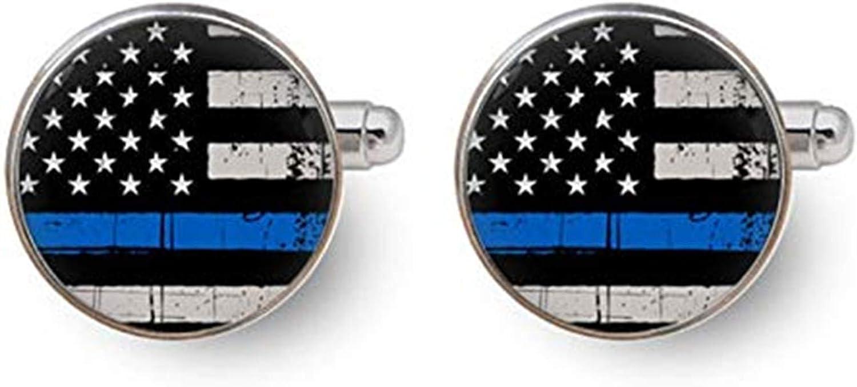 Blue line Cufflinks, Police Cufflinks, Custom Wedding Cufflinks, Police Officer Gifts,Dome Glass Ornaments, Gifts for him