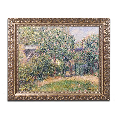 Railway Bridge at Chatou 1881 Artwork by Pierre Renoir in Gold Ornate Frame, 16 x 20