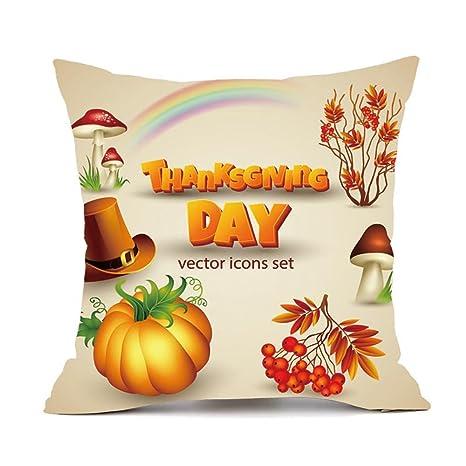 Amazon.com: TOPBIGGER Thanksgiving Square Cover Decor Pillow ...