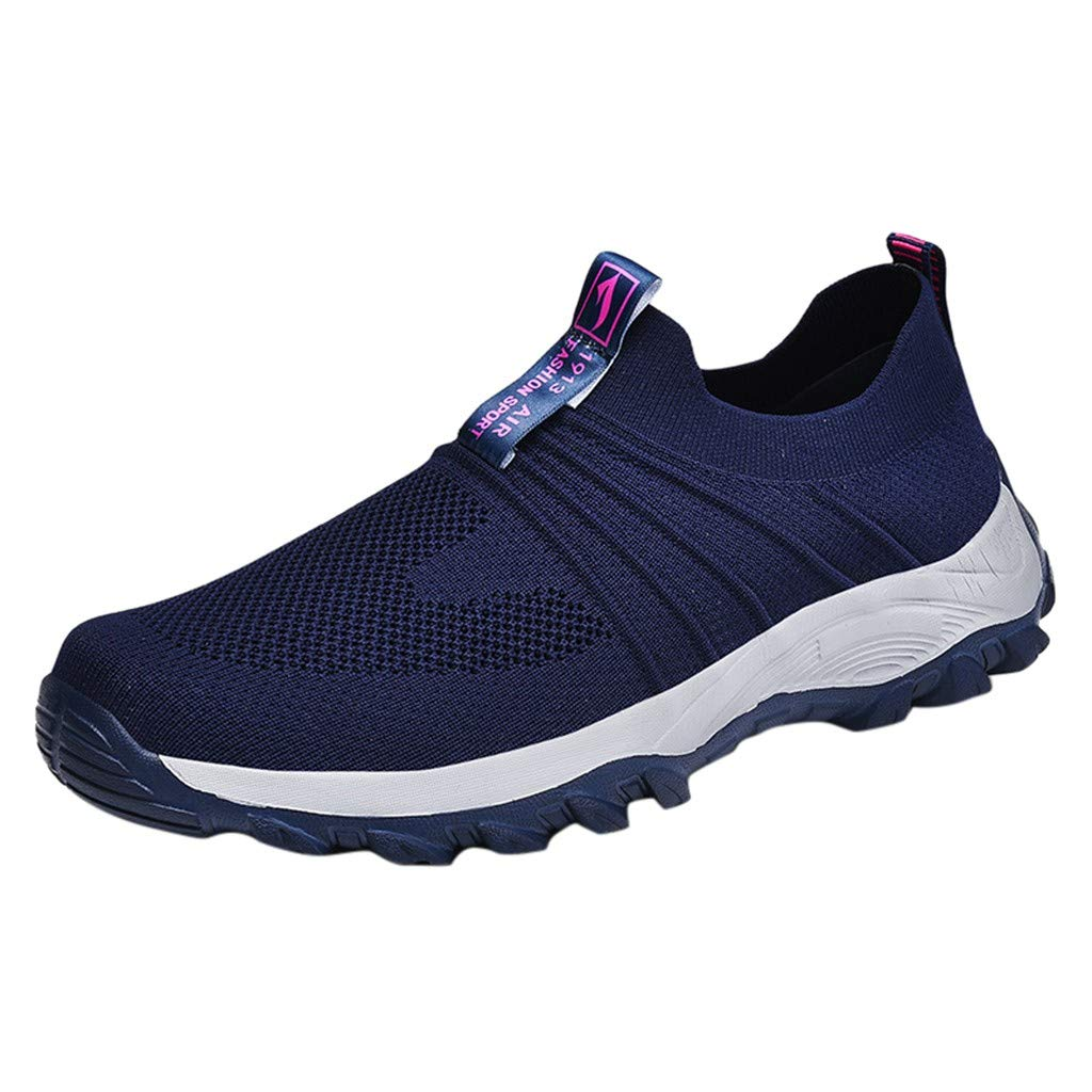 Men Women Mesh Sneakers Casual Sports Breathable Lightweight Soft Soles Non-Slip Walking Shoes Slip-on Shoes