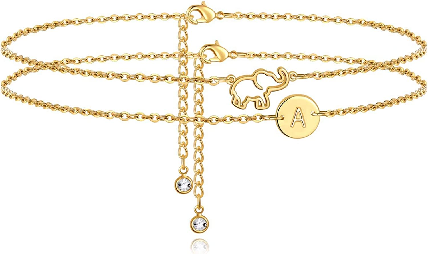 MONOOC Elephant Ankle Bracelets for Women, 14K Gold Plated Initial Letter Bohemian Anklets Dainty Elephant Anklet Layered Boho Summer Beach Anklets for Women Jewelry