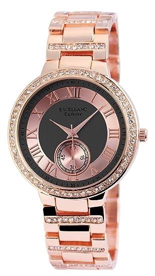 Reloj Mujer Gris Rosè Oro Strass Números Romanos Chrono Aspecto de Reloj de Pulsera: Amazon.es: Relojes