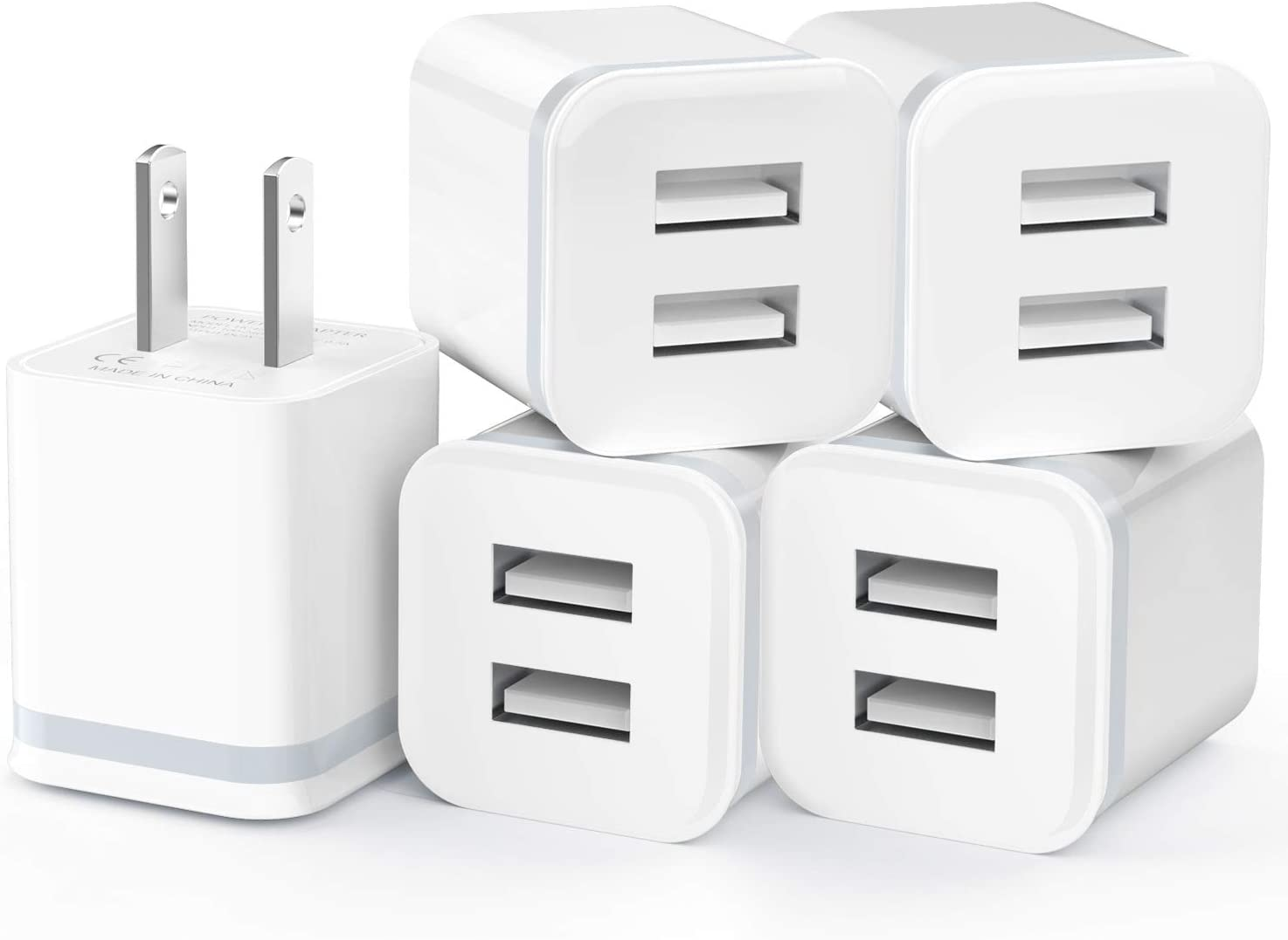 LUOATIP USB Wall Charger, 5-Pack 2.1A/5V Dual Port USB Cube Power Adapter Charger Plug Charging Block Replacement for iPhone Xs/XR/X, 8/7/6 Plus, Samsung, HTC, LG, Moto, Android Phones