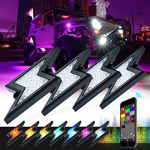 (Xprite 4Pods RGB LED Rock Lights w/Bluetooth Outdoor Multicolor Lightning Kit,for Jeep Wrangler Off-road 5th-GEN Z-FORCE Rock Light Waterproof (Patent Pending Design))