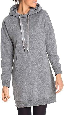 ShallGood Mujer Sudadera Casual Manga Largo De La Camisa Slim Cuello Redondo Vestido Invierno Larga Sudadera con Capucha Jersey Pullover Hoodie con ...