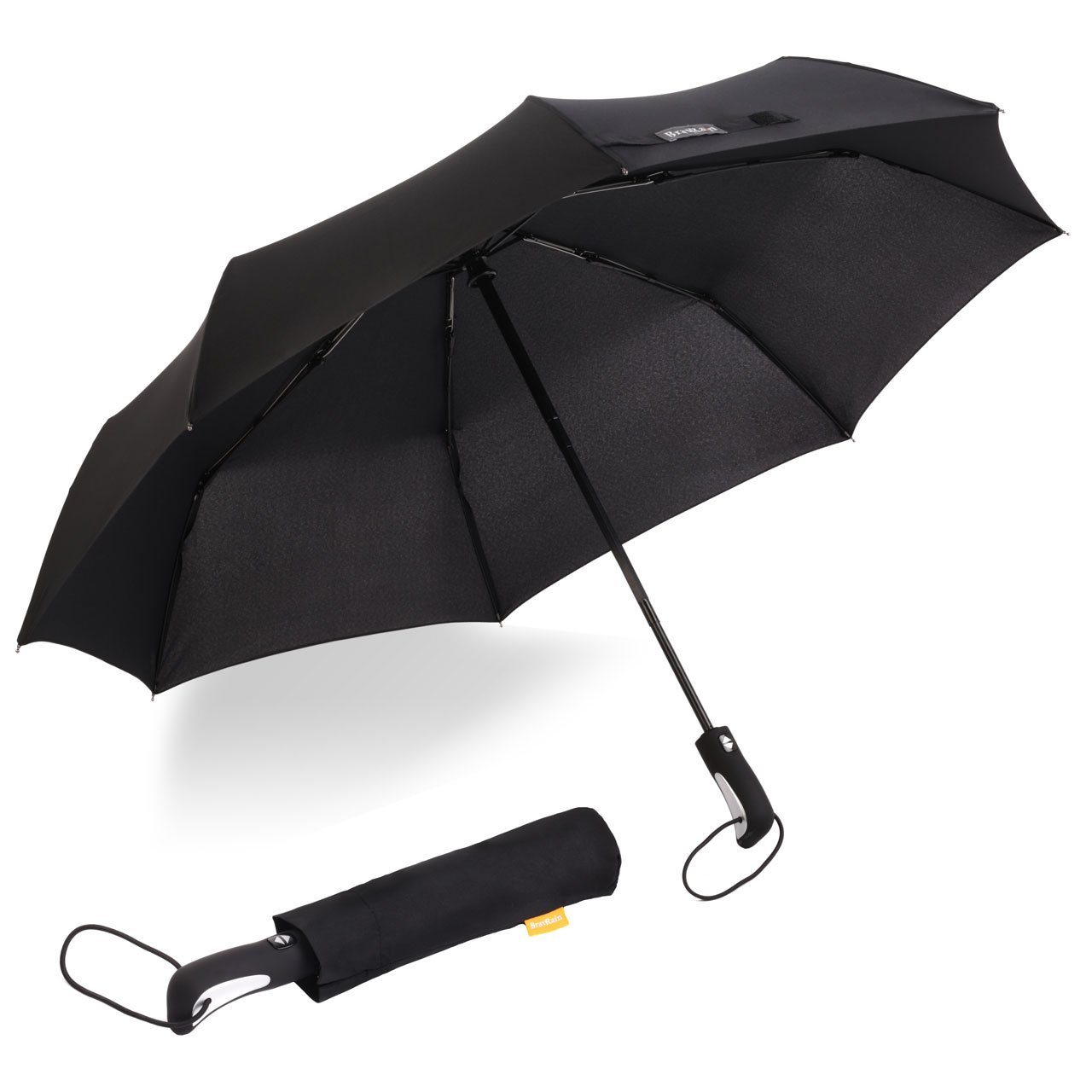 BravRain Windproof Umbrella, Travel Umbrella Strong Lightweight Carbon Fiber Umbrellas for Women Men, Stick Rain Umbrella Nanofiber Fabric OP-TECH