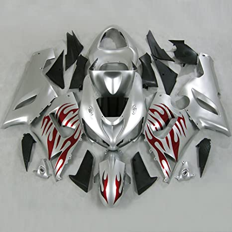 Moto Onfire ABS Fairings Kits with Full Fairing Bolts Fit for Kawasaki Ninja ZX 6R ZX-6R 636 2005 2006 (Silver Red)