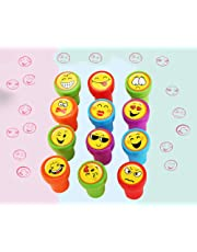 12 Pack Emoji Stampers - Assorted Emoji Emoticon Stamps, Perfect for Birthday Party Favors, Easter Eggs
