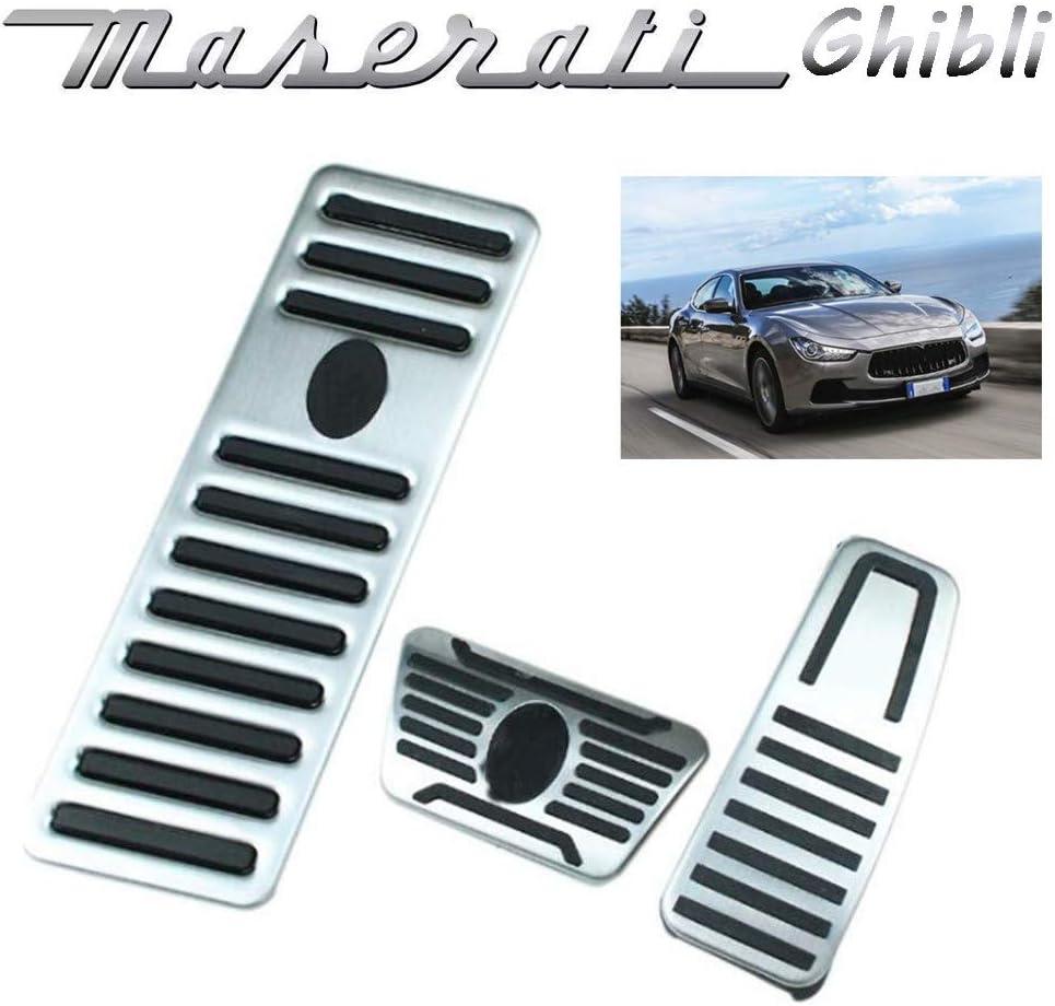 Anti-Slip Performance Accelerator Pied P/édales Foot Rest Dead Pedal Cover 3 pcs En Alliage Daluminium P/édale de frein /à gaz pour Maserati Ghibli 2014-2019