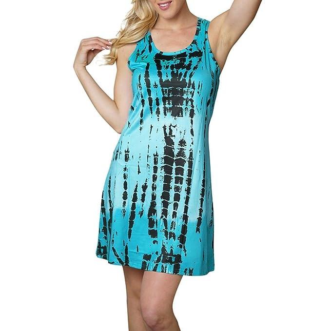 SANFASHION Bekleidung Vestido - Trapecio o Corte en A - Sin Mangas - para Mujer Verde 44 EU: Amazon.es: Ropa y accesorios