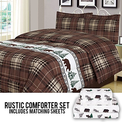 (Rustic Bear Full Comforter 7 Piece Bedding and Sheet Set Cabin Moose Hunting Lodge Bed in a Bag)