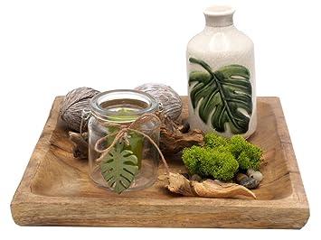 Tablett Deko Blatter Vase Windlicht Kerzenglas Holz Natur Grun