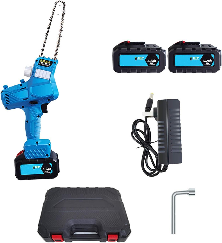 WRISCG Sierra Cadena Bateria, Mini Motosierra eléctrica portátil, Sierra eléctrica con una Mano, Motosierra Recargable pequeña portátil, para talar y Recortar Jardines, 7 Pulgadas,5.2ah Battery