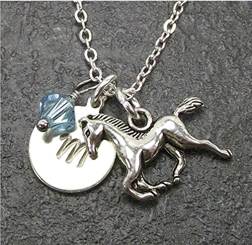 Custom Horse Necklace with Simulated Pearl Crystal from Swarovski Letter Initial Disk Charm