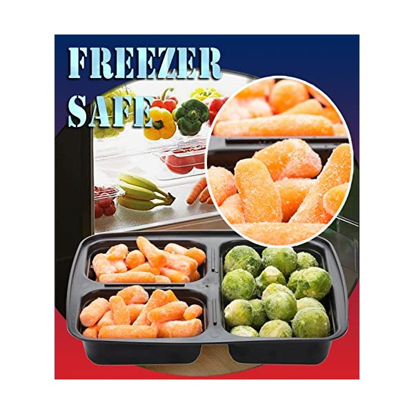 Meal Prep Containers Compartment Food Prep Containers Bento Box BPA-Free Food Storage Containers with Lids-Reusable Meal Prep Containers (Black 20-3) 61EjNK8y4cL