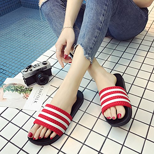 fankou Summer Stripe Anti-Slip Slippers Men and Women Inside and Outside The Home Cool Slippers Thick Sand,39-40, Red