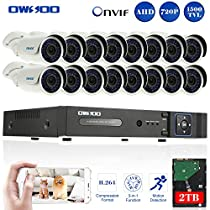 OWSOO 16CH 720P Onvif 2TB DVR Kit with 4PCS 720P Night Vision Built-in Waterproof LED High Resolution Outdoor/Indoor 1500TVL IR Cameras Surveillance CCTV Security Camera System