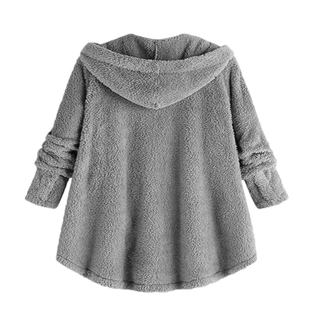 LEXUPE Femmes Hiver Chaud Tenue DéContractéE pour DéContractéE à Manches Les Longue Peluche Pulls Cardigan Pardessus F-gris
