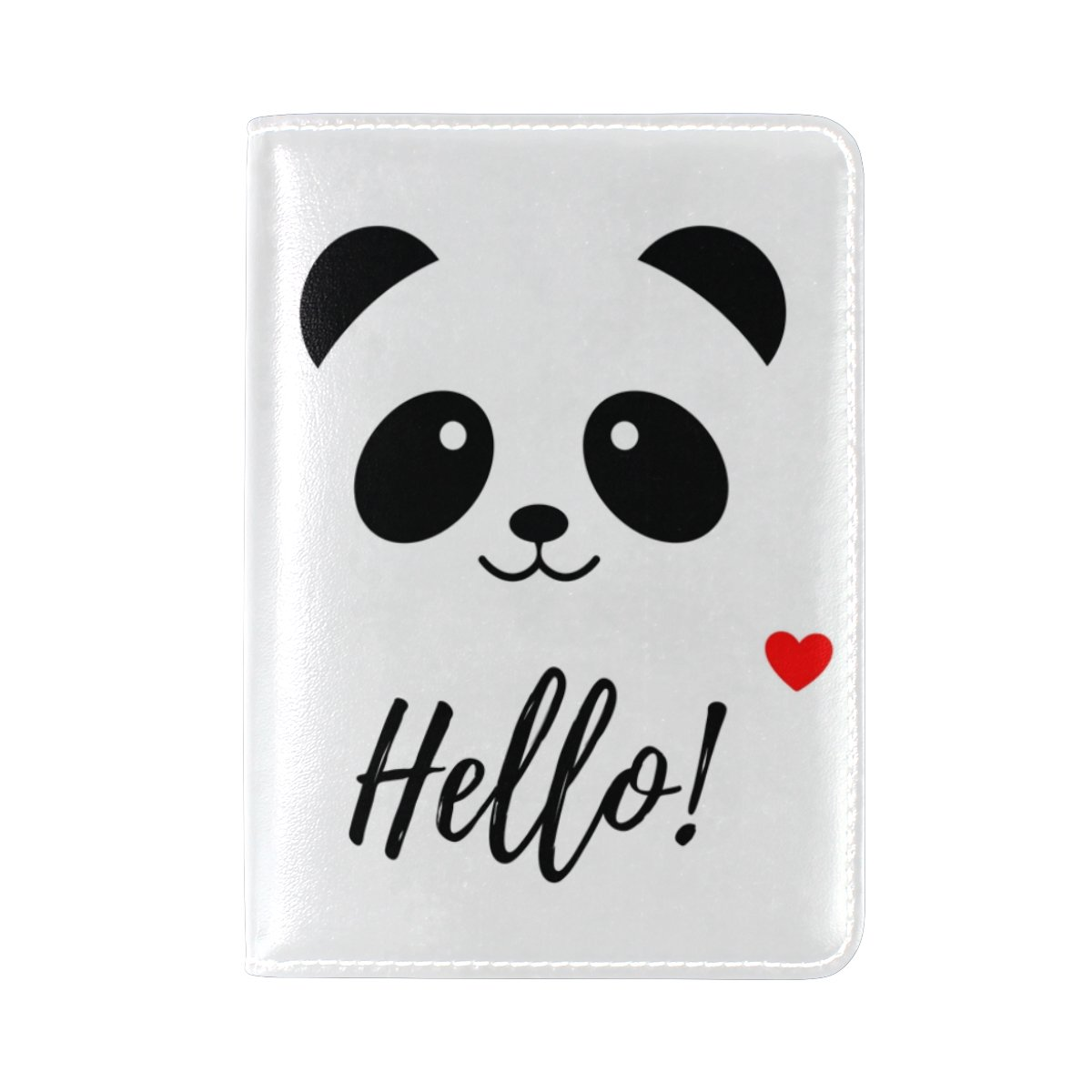 ALAZA Hello Panda White Leather Passport Holder Cover Case Travel One Pocket