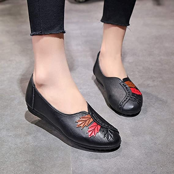 Amazon.com: AIMTOPPY Womens Casual Fashion Leaves Round Head Casual Soft Bottom Flat Pea Boat Shoes: Computers & Accessories