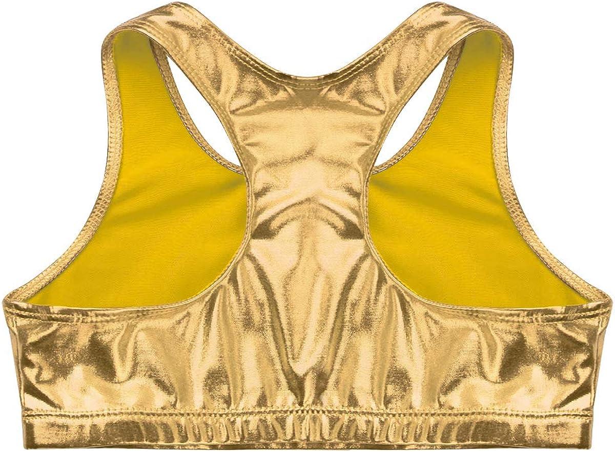 FEESHOW Enfant 5-12 Ans Brassi/ère Sport Enfant Fille D/ébardeur Haut de Danse Sport Yoga Gymnastique Fitness Musculation Brillant Haut de Bain Sportswear Dancewear
