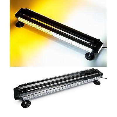 """VSEK 26.5"""" Amber/White 54 LED Traffic Advisor Double Side Emergency Warning Flash Strobe Light with Magnetic Base: Automotive"""