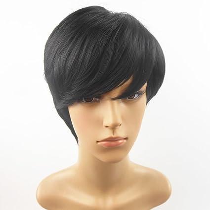 Peluca Personalizada Pelo Liso Corto Negro Natural Esponjoso ...